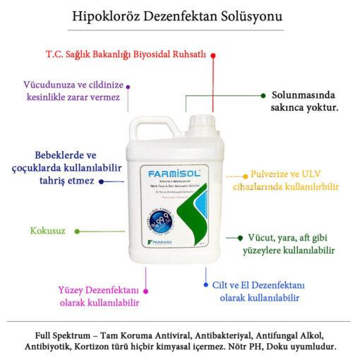 Farmisol Hipokloröz Solusyon Dezenfektan 5 Litre